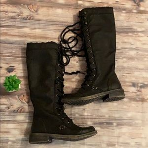 Roxy Mountain & The Seas Tall Laceup Black Boots
